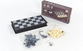 Набор настольных игр 3 в 1 (шахматы, шашки, нарды дорожные пластиковые магнитные) SC58810, 32х32 см