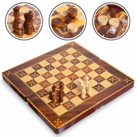 Набор настольных игр 3 в 1 (шахматы, шашки, нарды) MDF 7788C, 39х39 см