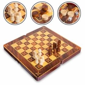 Набор настольных игр 3 в 1 (шахматы, шашки, нарды) MDF 5566C, 29х29 см