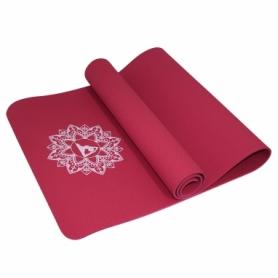 Коврик (мат) для йоги и фитнеса SportVida TPE Red (SV-HK0343), 173х61х0.6 см