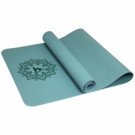 Коврик (мат) для йоги и фитнеса SportVida TPE Green (SV-HK0342), 173х61х0.4 см