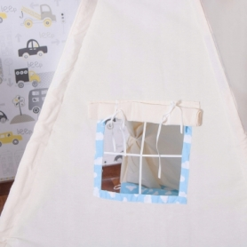 Детская палатка (вигвам) Springos Tipi XXL TIP05 White/Sky Blue - Фото №2