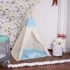 Детская палатка (вигвам) Springos Tipi XXL TIP05 White/Sky Blue - Фото №5