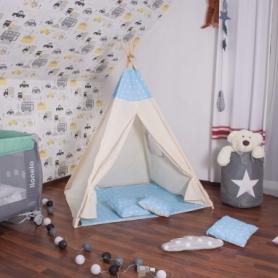 Детская палатка (вигвам) Springos Tipi XXL TIP06 White/Sky Blue - Фото №4