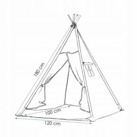 Детская палатка (вигвам) Springos Tipi XXL TIP01 White/Black - Фото №3