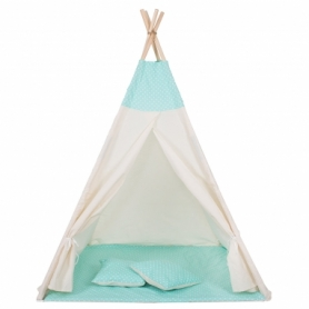 Детская палатка (вигвам) Springos Tipi XXL TIP04 White/Mint - Фото №6