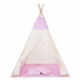 Детская палатка (вигвам) Springos Tipi XXL TIP09 White/Pink - Фото №4