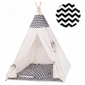 Детская палатка (вигвам) Springos Tipi XXL TIP02 White/Black - Фото №3