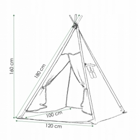 Детская палатка (вигвам) Springos Tipi XXL TIP02 White/Black - Фото №9