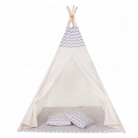 Детская палатка (вигвам) Springos Tipi XXL TIP03 White/Grey - Фото №3