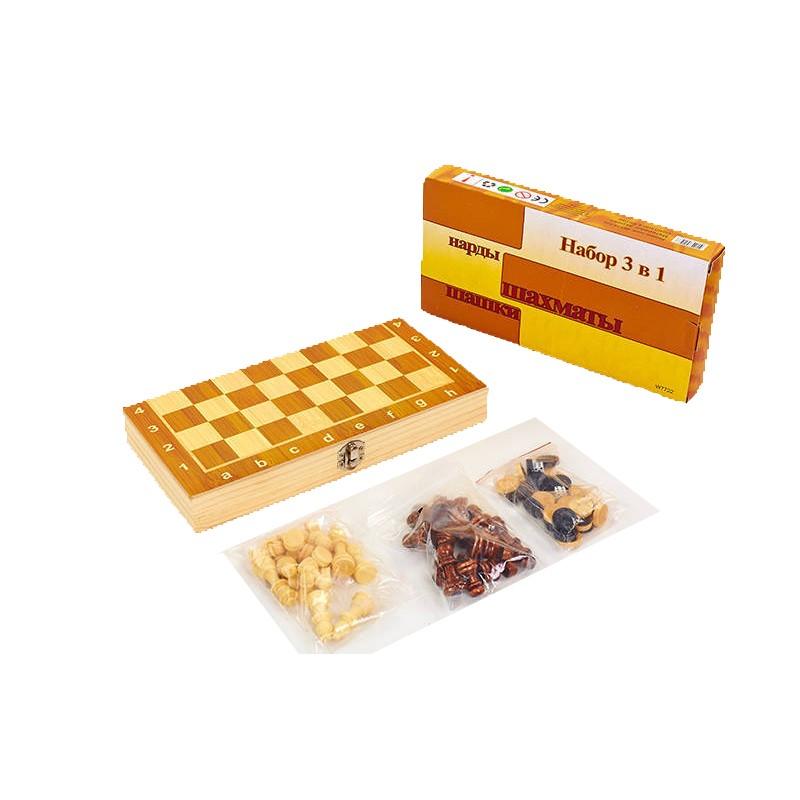 Набор настольных игр 3 в 1 (шахматы, шашки, нарды деревянные) W7723, 34х34 см