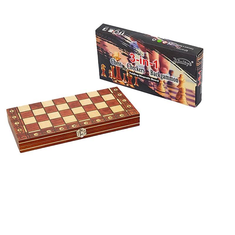 Набор настольных игр 3 в 1 (шахматы, шашки, нарды деревянные с магнитом) W7704H, 39х39 см