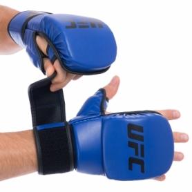 Перчатки гибридные для единоборств ММА PU UFC Contender UHK-69147 синие, 8 oz