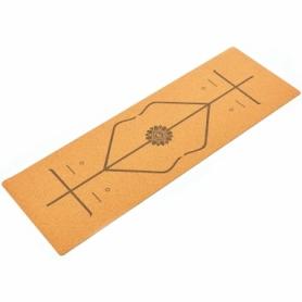 Коврик для йоги (йога-мат) пробковый двухслойный Record (FI-7156-10) - Разметка, 4мм