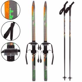 Набор лыжный детский Zelart Active Power (SK-0881) - черно-оранжевый, 110 см
