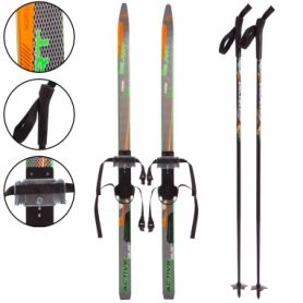 Набор лыжный детский Zelart Active Power (SK-0881) - черно-оранжевый, 130 см