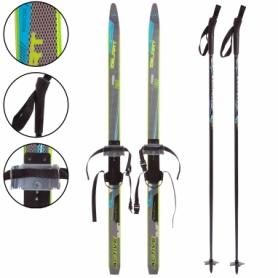 Набор лыжный детский Zelart Active Power (SK-0881) - черно-голубой, 140 см