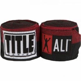 Бинты боксерские эластичные Title Boxing Muhamed Ali Semi-Stretch, черный с красным