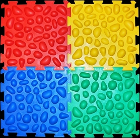 Коврик массажный с эффектом морской гальки Олви Пазлы 4 элемента (OL374781350)
