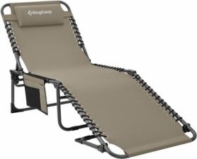 Раскладушка-шезлонг KingCamp Classic Adjustable Cot бежевая (KC2019)
