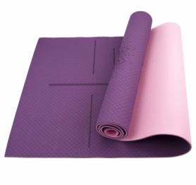 Коврик (мат) для йоги и фитнеса SportСraft TPE розовый, 183х61х0,6 см (ES0025)