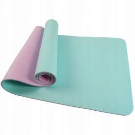 Коврик (мат) для йоги и фитнеса SportVida TPE голубой, 183х61х0,4 см (SV-HK0240)