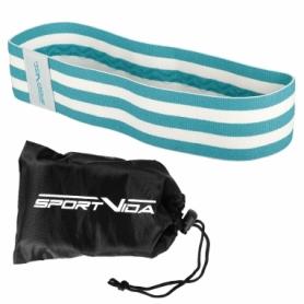Резинка для фитнеса тканевая SportVida Hip Band голубая, L (SV-HK0253) - Фото №9