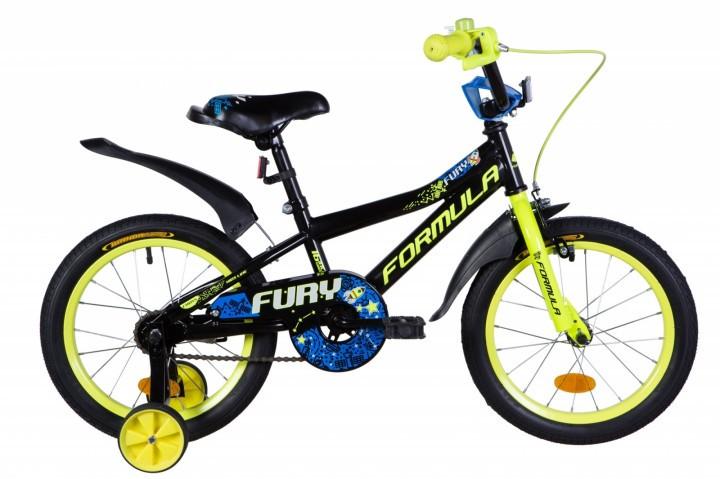 """Велосипед детский Formula Fury 2021 16 желтый, рама - 9"""" (OPS-FRK-16-154)"""