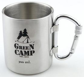 Термокружка туристическая с ручкой-карабин Green Camp, 300 мл (GC-300B)