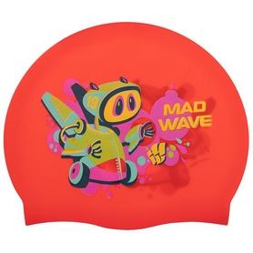 Шапочка для плавания детская MadWave Junior Mad Bot красная (M057915_RED)