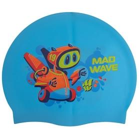 Шапочка для плавания детская MadWave Junior Mad Bot голубая (M057915_CYAN)