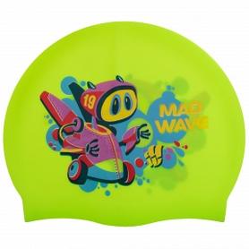 Шапочка для плавания детская MadWave Junior Mad Bot зеленая (M057915_GRN)