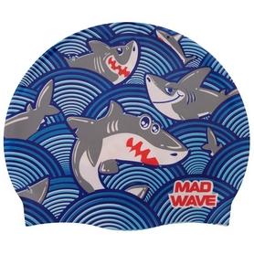 Шапочка для плавания детская MadWave Junior Sharky голубая (M057911_CYAN)