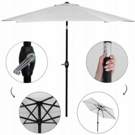 Зонт пляжный (садовый) с наклоном Springos серый, 250 см (GU0012) - Фото №3