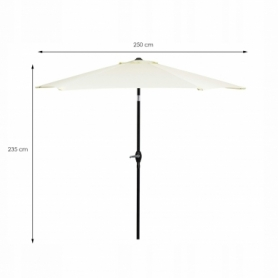 Зонт пляжный (садовый) с наклоном Springos бежевый, 250 см (GU0013) - Фото №5