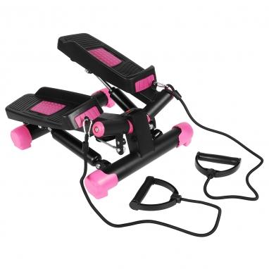 Степпер поворотный (мини-степпер) с эспандерами SportVida розовый (SV-HK0360)