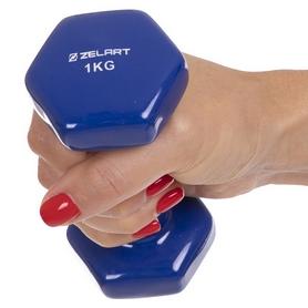 Гантель для фитнеса виниловая Zelart синяя, 1 кг (TA-2777-1_BL) - Фото №2