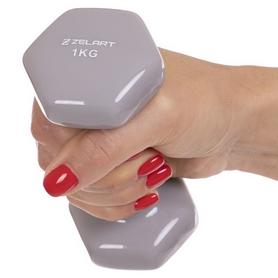 Гантель для фитнеса виниловая Zelart серая, 1 кг (TA-2777-1_GR) - Фото №3