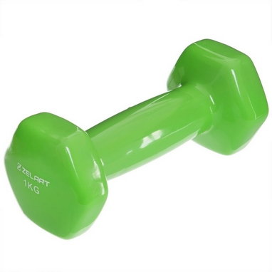 Гантель для фитнеса виниловая Zelart салатовая, 1 кг (TA-2777-1_GRN)