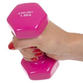 Гантель для фитнеса виниловая Zelart розовая, 1,5 кг (TA-2777-1_5_PNK) - Фото №4