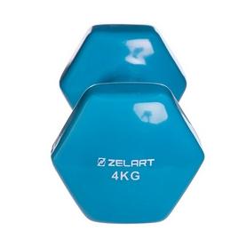 Гантель для фитнеса виниловая Zelart голубая, 4 кг (TA-2777-4_CYAN) - Фото №3