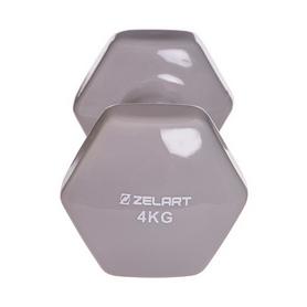 Гантель для фитнеса виниловая Zelart серая, 4 кг (TA-2777-4_GR) - Фото №3