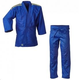 Кимоно для дзюдо Adidas Club J350 синее с желтыми полосами