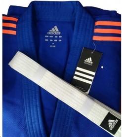 Кимоно для дзюдо Adidas Judo Uniform Club синее с оранжевыми полосами